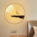 Nordic Deer and Full Moon Wood Mural Lamp LED Flush Mount Wall Sconce in Black/Beige for Living Room
