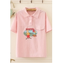 Cute Cartoon Boy Letter Scooters Childhood Bagman Print Short Sleeve Polo Collar Regular Fit Graphic Shirt for Women
