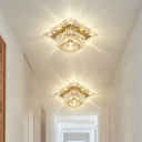 Cube Mini LED Flush Mount Lamp Simple Clear Cut Crystal Close to Ceiling Light for Foyer