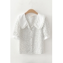 Trendy Womens Lace Trim Patchwork Polka Dot Button Up Lapel Collar Short Sleeve Regular Fitted Shirt