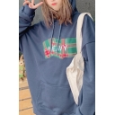 Korean Girls Letter Heavy Embroidery Plaid Patched Long Sleeve Drawstring Kangaroo Pocket Relaxed Hoodie