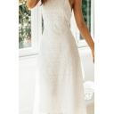 Gorgeous Womens Bow Tied Halter Open Back Hollow out Midi A-line Dress in White