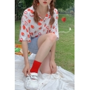 Pretty Girls Allover Strawberry Print Short Sleeve Lapel Neck Button down Chest Pocket Loose Shirt in White