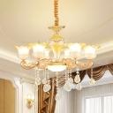 Mid Century Flower Ceiling Chandelier 6-Light Crystal Hanging Pendant Light in Gold