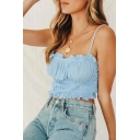 Cute Ladies Solid Color Stringy Selvedge Spaghetti Straps Pleated Fit Crop Cami in Blue