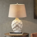 White 1-Light Nightstand Light Traditional Ceramics Stab Ball Shape Table Lamp with Fabric Shade