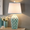Blue/Green Finish 1 Bulb Table Light Traditional Ceramics Altar Shaped Nightstand Lamp with Fabric Shade