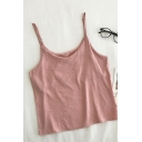 Trendy Womens Solid Color Scoop Neck Sleeveless Regular Fit Cami Top
