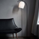 Resin Cloche Standing Floor Lamp Simplicity 1 Bulb Black and White Standing Lamp with Arched Arm