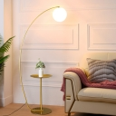 Minimalist Arched Metal Floor Lamp 1 Bulb Standing Light in Gold with Tray and Sphere Cream Glass Shade