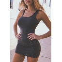 Simple Womens Scoop Neck Mini Fitted Tank Dress in Black