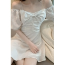 Pretty Ladies Rhinestone Straps Puff Sleeve Cold Shoulder Ruched Solid Color Short A-line Dress