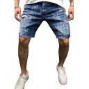 Cool Men's Snowflake Print Zip-fly Button Turn-up Cuffs Deep Wash over the Knee Slim Fitted Denim Shorts with Pockets