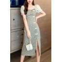 Stylish Womens Plaid Printed Sheer Mesh Puff Sleeve Stringy Selvege Square Neck Frog Button down Slit Side Mid Shift Dress in Green
