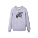 Cool Mens Pen Cartoon Character Pattern Pullover Long Sleeve Round Neck Regular Fitted Sweatshirt