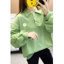 Daisy Floral Embroidery Long Sleeve Polo Collar Button up Loose Fit Pullover Fancy Sweatshirt for Women
