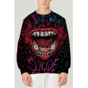 Unique Mens 3D Mouth Letter Suicide Hahaha Printed Pullover Long Sleeve Round Neck Regular Fit Graphic Sweatshirt