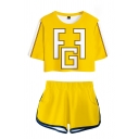 Yellow Geo 3D Printed Tape Patched Short Sleeve Crew Neck Relaxed Crop Tee & Elastic Waist Shorts Sports Set