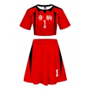 Creative Number Letter 3D Print Contrast Short Sleeve Crew-neck Fit Cropped T-shirt & Short A-line Pleated Skirt Co-ords for Women