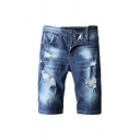 Dark Blue Cool Mens Zip-fly Pocket Ripped Button Longline Fitted Denim Shorts with Washing Effect