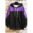 Fancy Colorblock Drawstring Long Sleeve Relaxed Fitted Hoodie for Men
