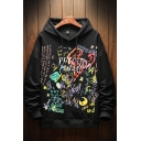 Trendy Mens Star Moon Letter Mabe One the Day Printed Drawstring Long Sleeve Fitted Graphic Hooded Sweatshirt