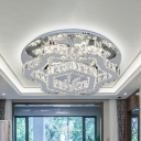 Modernist Geometric Frame Semi Flush Clear Crystal Living Room LED Close to Ceiling Light in Stainless-Steel