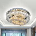3-Hoop Living Room Semi Mount Lighting Beveled Crystal LED Modernism Flush Lamp Fixture in Stainless-Steel