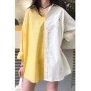Fashion Girls Colorblock Floral Embroidery Long Sleeve Spread Collar Button down Chest Pocket Long Oversize Shirt Top in White and Yellow