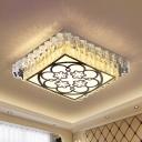 Clear Crystal Squared Flush Ceiling Light Modernism LED Flush Mounted Lamp for Bedroom