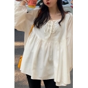 Stylish Plain Blouson Sleeve Round Neck Lace-up Ruffled Loose Fit Blouse Top for Girls