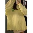 Korean Girls Letter Bubble Printed Stringy Selvedge Long Sleeve Round Neck Tunic Oversize T Shirt