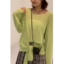 Semi-sheer Solid Color Tied Cut-out Front Long Sleeve Round Neck Loose Fit Fashionable T-shirt for Girls