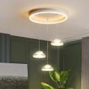 Bowl Dining Room Multi-Light Pendant Acrylic 3 Heads Modernist LED Hanging Lamp in White/Warm Light