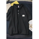 Stylish Men's Polo Shirt Letter Timberland Printed Button Spread Collar Loose Fit Short Sleeve Polo Shirt with Pocket