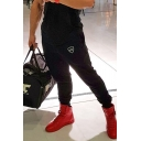 Mens Casual Crown Print Drawstring Tapered Fitted Full Length Jogger Pants with Pockets