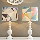 Fabric Drum Shade Desk Light Kids 1 Bulb Pink/Blue Table Lamp with Geometric Pattern