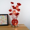 Flower and Ball Aluminum Wire Table Light Art Deco LED Bedside Night Lamp in Red