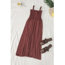 Dainty Womens Solid Color Button Pleated Ruffle Trim Off the Shoulder Sleeveless Midi Tank Dress