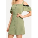 Fashion Womens Patchwork Ruffled Sleeve Cold Shoulder Fabric Button up Short A-line Dress in Green