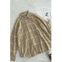 Vintage Girls Plaid Pleated Detail Button Down Collar Long Sleeve Relaxed Fit Tunic Shirt