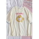 Hot Popular Letter Taiyaki Cartoon Fish Cat Printed Patchwork Crew Neck Short Sleeve Relaxed Fit Graphic Tee for Girls