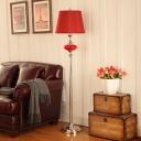 1 Light Barrel Floor Lighting Countryside White/Red Finish Fabric Standing Floor Lamp for Parlour