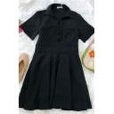 Cool Girls Solid Color Lace Up Pleated Detail Collar Short Sleeve Midi A Line Dress in Black