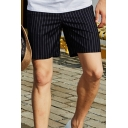 Simple Shorts Striped Printed Pocket Zipper Mid Rise Regular Fit Shorts for Men in Gray