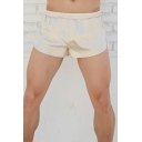 Fancy Mens Shorts Solid Color Elastic Mid Rise Regular Fit Shorts