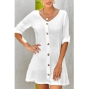 Trendy Womens Solid Color Rolled Half Sleeve V-neck Button down Mini A-line Work Dress