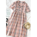 Popular Girls Plaid Double Button Pleated Lapel Collar Short Sleeve Midi Relaxed Smock Dress