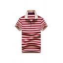 Fashion Men's Polo Shirt Striped Pattern Button Turn down Collar Short Sleeve Regular Fitted Polo Shirt