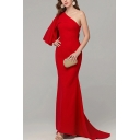 Popular Red One Shoulder Ruffled Patched Maxi Sheath Flowy Dinner Dress for Women